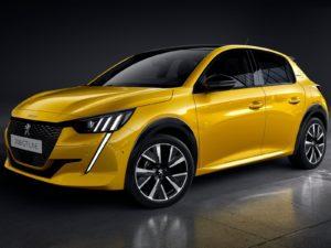 Peugeot 208 2020 amarillo fondo negro