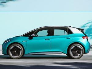Volkswagen ID.3 lateral de color azul