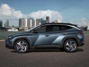 Hyundai Tucson 2021 azul verdoso vista lateral